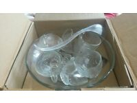 Lovely glass punch bowl and cups.