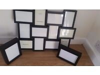 Black large wall picture frame with two free standing frames