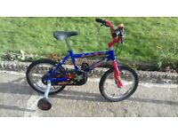 KIDS CHILDREN BOYS RALEIGH CREEPY 14'' WHEELS WITH STABALIZERS BIKE BICYCLE