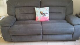 2 SOFAS RECLINERS 1 YEAR OLD GREY SUEDE GOOD CONDITION