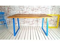 Any RAL Colour or Steel Finish Dining Table Metal Industrial A-Frame / Bench Sets -