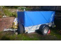 ifor williams trailer with custom made cover and removable mesh sides
