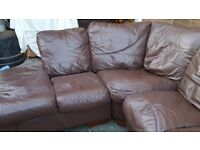 Leather corner sofa with storage, armchair and footstool