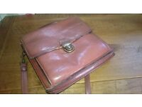 Stunning real leather vintage satchel handbag