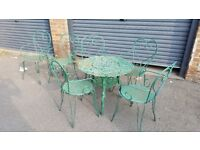 Garden table and 6 chairs wrought iron