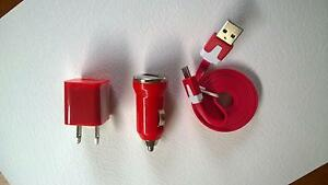 3 in 1- Micro USB Cord Wall Charger Car Charger