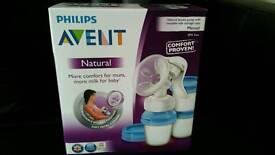 Phillips Avent Comfort Manual breast pump plus 3 storage cups