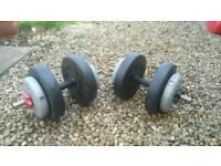 2x 15kg standard dumbells