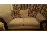 Minx/Chocolate coloured corner sofa and chair