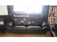 Black Leather 3 seater and 2 seater sofa £350