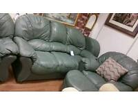 3 seat leather sofa 2 armchairs and 2 footstools