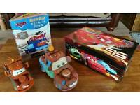 Disney cars/Lightning Mcqueen bundle incl mater toys, stencil book & storage box