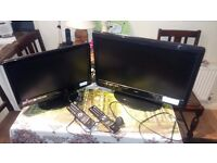 "TWO LOGIK TV 24"" WITH DVD, 19"" TV, WITH REMOTE, FOR REPAIR OR SPARE"