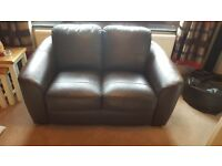 3 seater and 2 seater brown faux leather sofa set