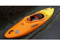 Kayak PYRANHA H3 255 river running/creeking with neoprane spraydeck