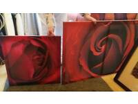 Large and Medium Rose Canvas