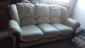 FREE 3 Seater Cream Leather Sofa