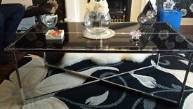 silver with black glass coffee table