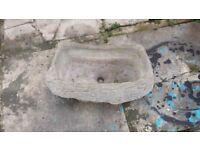 Vintage Weathered Stone Garden Flower Pot Tree Log Planter Bird Bath