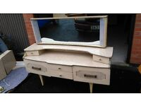 Vintage Camelot Dressing Table with Mirror 1960's, Storage, Curved, Marble Effect