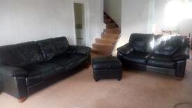 Black leather Sofa's - 3 seater, 2 seater and storage stool