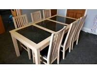 Bentley designs limed oak solid wood and granite dining table and 6 chairs