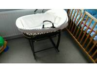 Wicker Moses Basket with Stand and Mattress