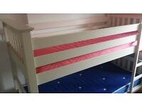 solid cream bunk beds and matresses.