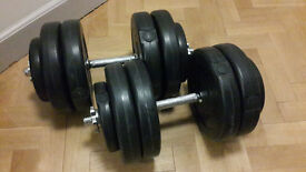 2 Dumbbells, up to 25kg each (4x5kg + 2x1.25kg + bars)