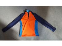 ODLO Men's Midlayer 1/2 Zip Pact Jacket Orange and blue - brand new with label - size M