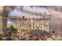 Pastel bunting and wedding items