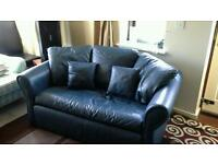 Blue Leather Sofa Bed.