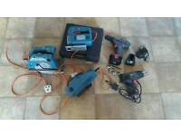 Job lot of power tools cordless drill electric plane jigsaw