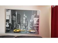 Large New York picture art work in a metal frame