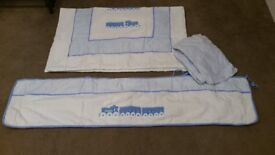 Sleep tight peice Cot Bumper Blue + Quilt & Fitted Sheet