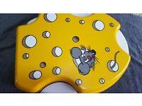 Yellow & White Funky Mouse Toilet Seat - Cheesy