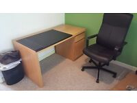 Ikea Desk and Chair with mat thingy and 2x 14cm PC fans inside