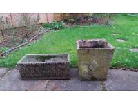 Two concrete 1960's planters