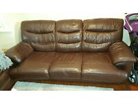 DFS brown leather sofas
