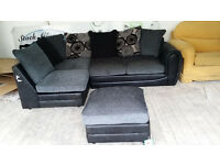 NEW Black Grey Fabric Left Hand Corner Sofa Suite Local Delivery Available