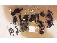 Bundle of Cables USB Adaptors Headphones Samsung Sony Ericsson LG Playstation
