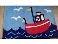 Nautical children's bedroom rug 100% wool Jo Jo Maman Bebe rug. Excellent condition, like new.