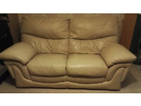 Leather sofa + footstool (with storage)