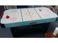 Air hockey table with a fan powered puck for extra fast play action. delivery can be arranged