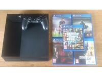 PS4 Console, Controller, 5 Games with original boxes & packaging