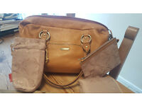 Storksak Elizabeth Tan leather changing bag (used on & off for 3 weeks)