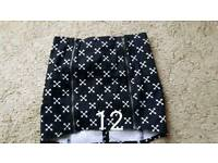 Size 12 black and white skirt