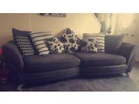 Fabric sofa, swivel cuddle chair and chair