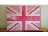 Art Print - United Kingdom Flag in Pink Shades