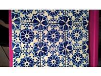 HANDMADE DAMASK BLUE CLAY TILES FOR SPLASHBACK